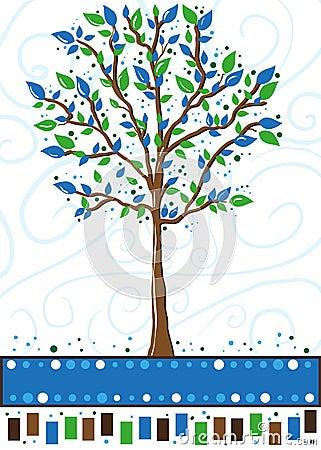 Arbre dans bleu et vert - carte de voeux