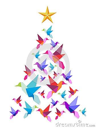 Arbre de no l de colibris d 39 origami images stock image 21836474 - Arbre de noel origami ...