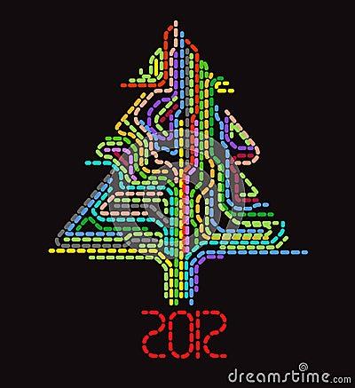 Arbre de Noël pointillé par abstrait