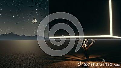 Arbre isolé surréaliste de cube dans le désert apocalyptique la nuit illustration libre de droits