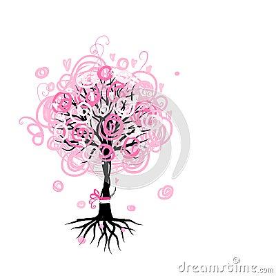 arbre rose abstrait avec des racines pour votre conception photos libres de droits image 35939708. Black Bedroom Furniture Sets. Home Design Ideas