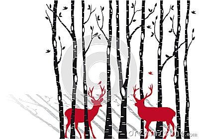 Arbres de bouleau avec des deers de Noël, vecteur