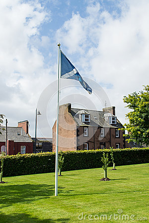 Arbroath Abbey and Saltire, Scotland