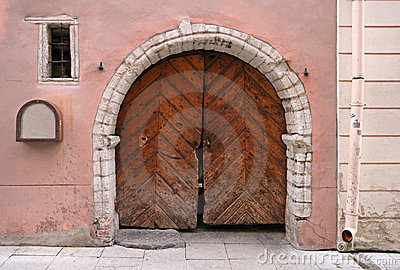 Arc with Brown wooden gate