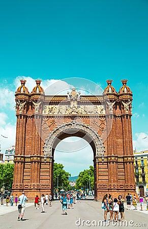 Arc de Triomf in Barcelona, Spain Editorial Stock Photo