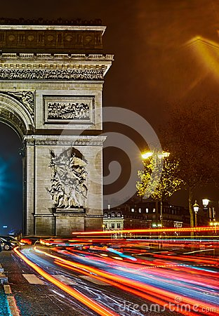 Free Arc De Triomphe At Night. Royalty Free Stock Photos - 107449678