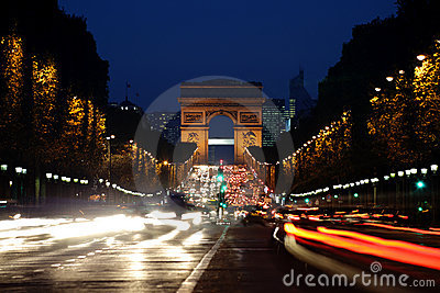 Arc de Triomphe and Champs-Elysees Avenue at night
