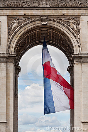Arc de Triomphe detail and French flag