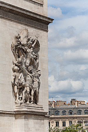 Arc de Triomphe detail showing facade statues
