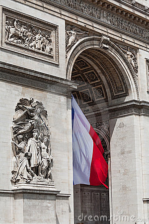 Arc de Triomphe detail showing the french flag