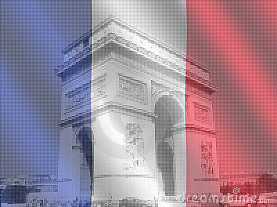 Arc de Triomphe with flag
