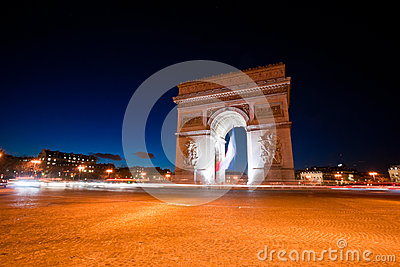Arc de Triomphe by night, Paris.