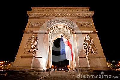 Arc de Triomphe by night, Paris.