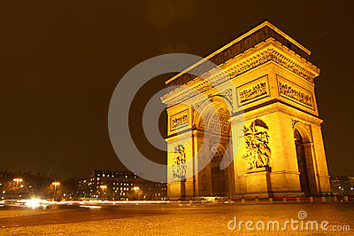Arc De Triomphe at night in Paris, France Editorial Photography