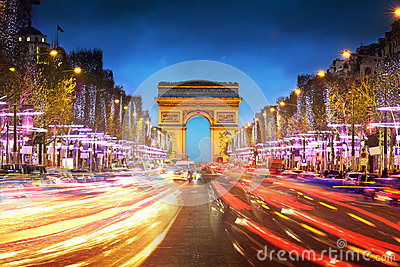 Arc de triomphe Paris city at sunset Editorial Stock Image