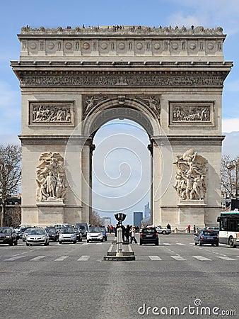 Arc de Triomphe in Paris Editorial Stock Photo
