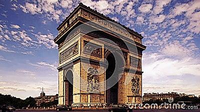Arc de triomphe paris. Timelapse of the arc de triomphe, one of the most famous monuments in paris