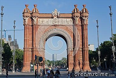 The Arc de Trionf Barcelona Spain Editorial Image