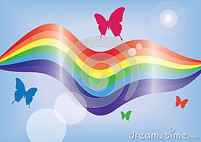 Arc-en-ciel et papillons