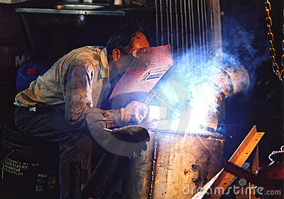 Arc welder at work