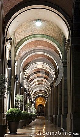 Arcadas en Bolonia, Italia