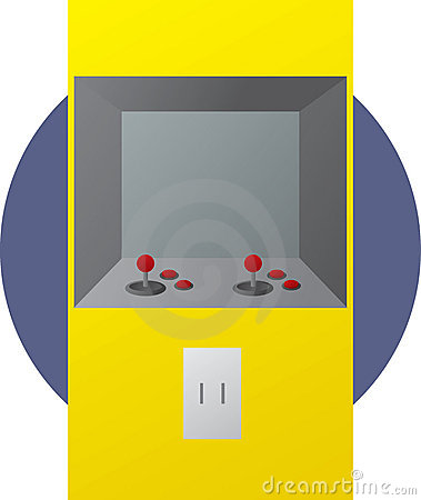 Arcade coin operated videogame illustration