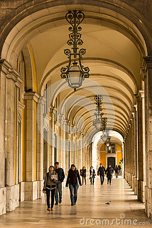 Free Arcades. Gallery Surrounding Palace Square Or Commerce Square. Lisbon. Portugal Royalty Free Stock Photography - 31086607