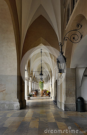 Arcades of Sukiennice in Krakow, Poland