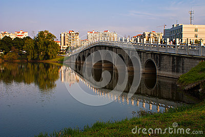 Arch bridge across a lake