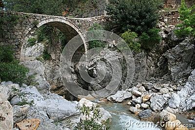 Arch bridge across a mountain river