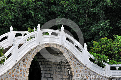 Arch bridge in garden