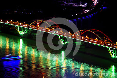 Arch bridge at night