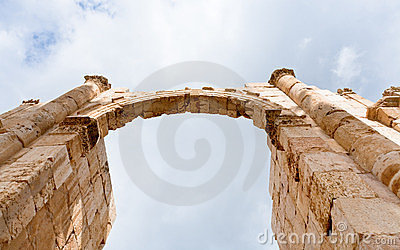 Arch and column in antique city of Gerasa Jerash