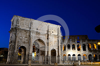 Arch of Constantine and Colosseum at night