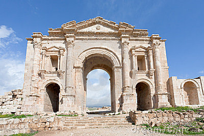 Arch of Hadrian in Jerash in Jordan