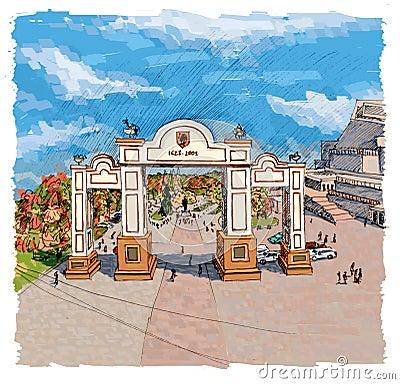 Arch in Krasnoyarsk Stock Photo
