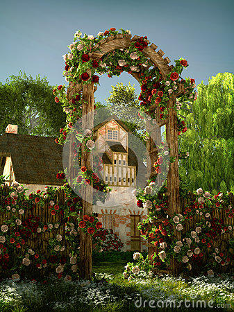 Free Arch Of Roses, 3d CG Royalty Free Stock Photography - 53520717