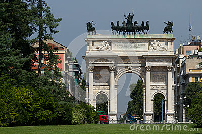 Arch of Peace in Sempione Park, Milan.