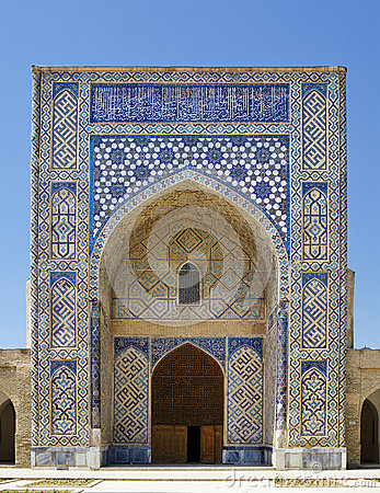 Free Arch Portal Of Kok Gumbaz Mosque, Uzbekistan Stock Image - 82175391