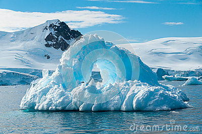 Arch shaped iceberg Antarctica
