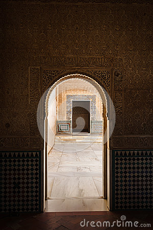 Arch to arch look into moorish style courtyard
