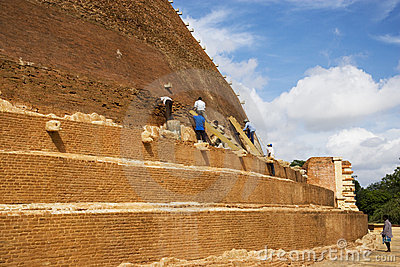 Archaeological Conservation Work, Sri Lanka Editorial Stock Photo