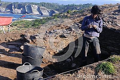 Archaeological excavation . Asturias Editorial Stock Image