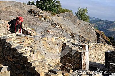 Archaeological excavation . Asturias Editorial Stock Photo