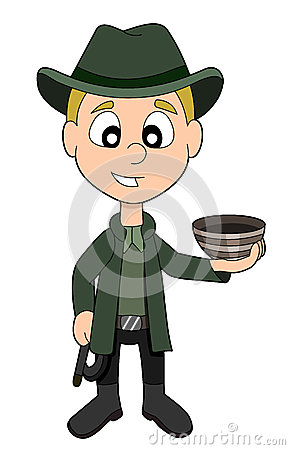 Archaeologist boy cartoon