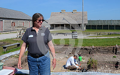 Archaeologist Lynn Evans at Fort Michilimackinac Editorial Image