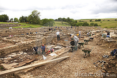 Archaeologists at work at Roman Vindolanda Editorial Stock Image
