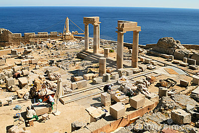 Archaeology site in Lindos (Rhodes)