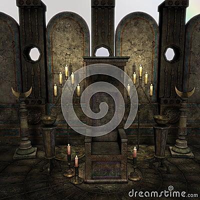 Archaic altar or sanctum in a fantasy setting