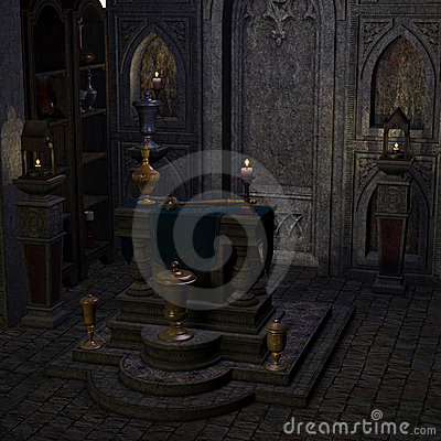 Archaic altar or sanctum in a fantasy setting